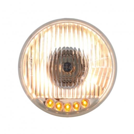 5 3/4″ Crystal Halogen Headlight Bulb w/ Auxiliary LED